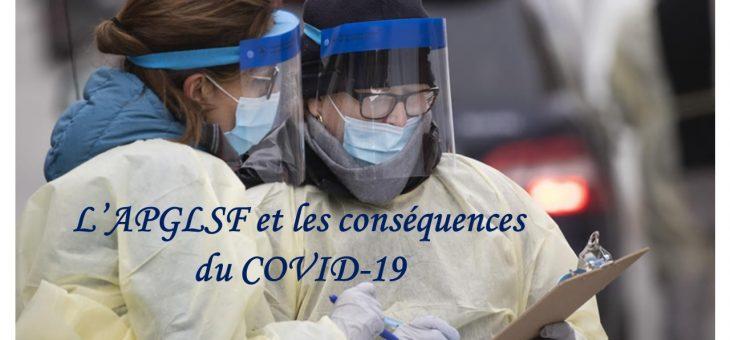 L'APGLSF, ses membres et les conséquences du Coronavirus (COVID-19)